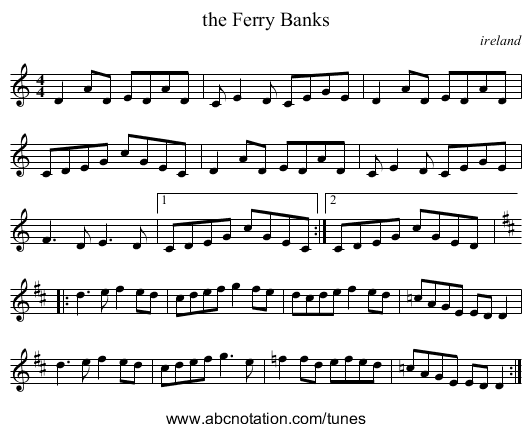 the Ferry Banks - staff notation