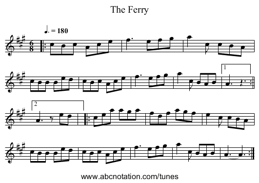 The Ferry - staff notation