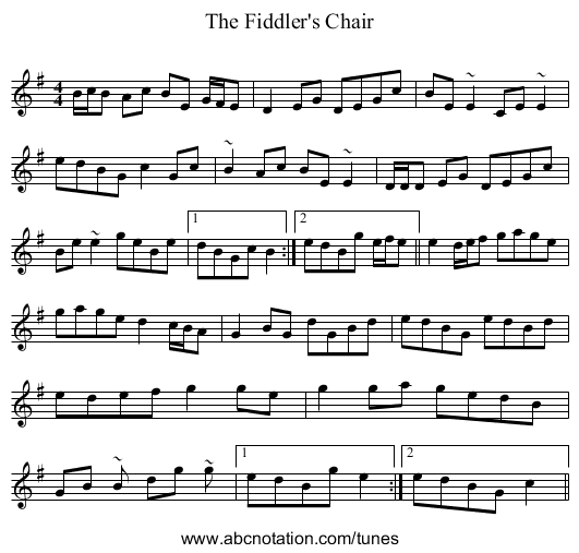 The Fiddler's Chair - staff notation