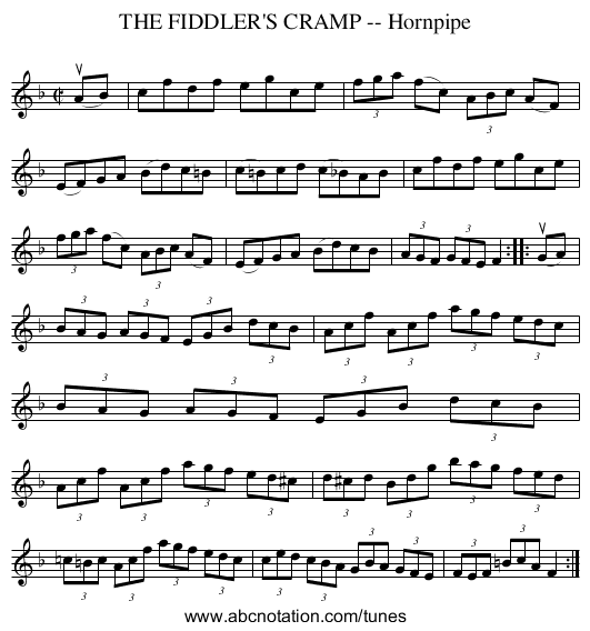 THE FIDDLER'S CRAMP -- Hornpipe - staff notation