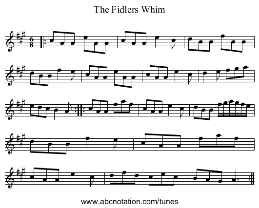 The Fidlers Whim - staff notation