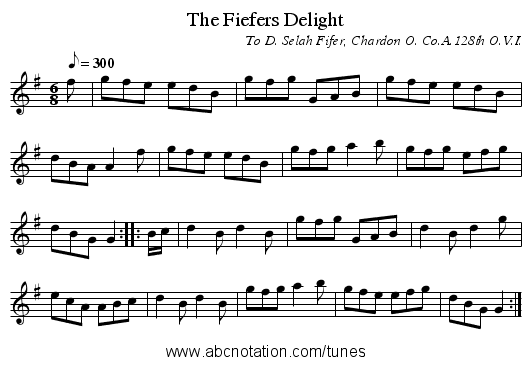 The Fiefers Delight - staff notation