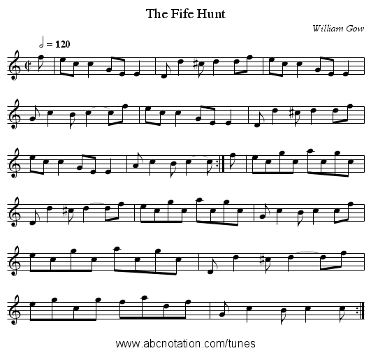 The Fife Hunt - staff notation