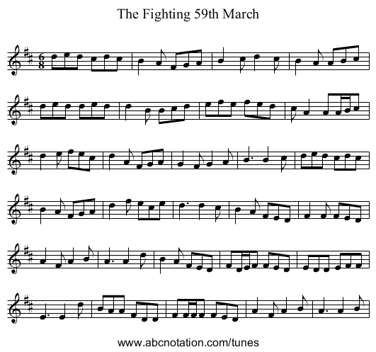 The Fighting 59th March - staff notation