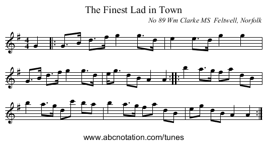 The Finest Lad in Town - staff notation