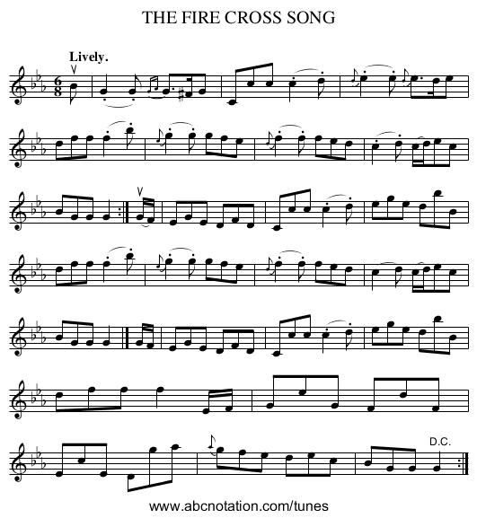 THE FIRE CROSS SONG - staff notation