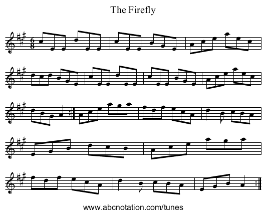 The Firefly - staff notation
