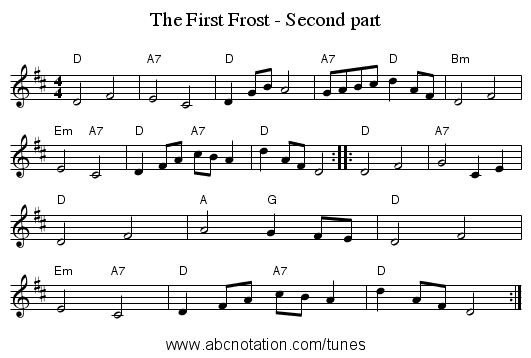 The First Frost - Second part - staff notation