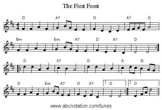 The First Frost - staff notation