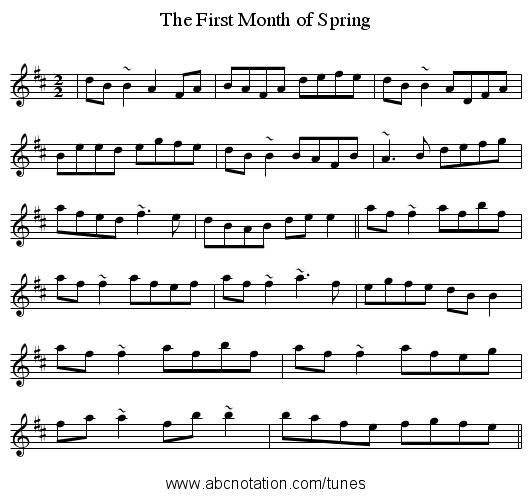 The First Month of Spring - staff notation