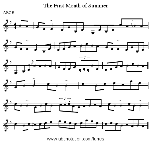 The First Month of Summer - staff notation