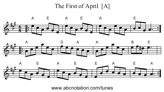 The First of April  [A] - staff notation
