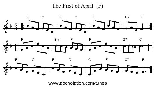 The First of April  (F) - staff notation