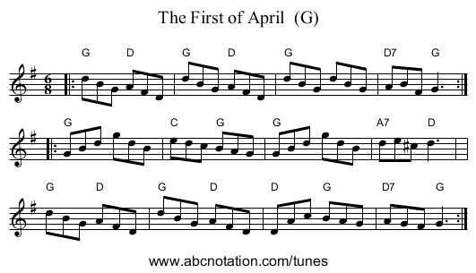 The First of April  (G) - staff notation
