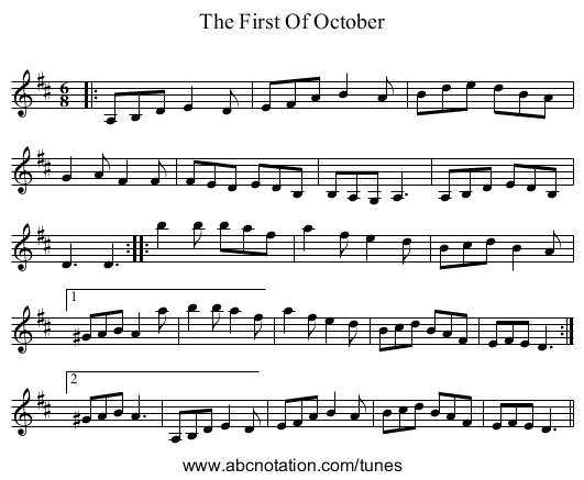 The First Of October - staff notation
