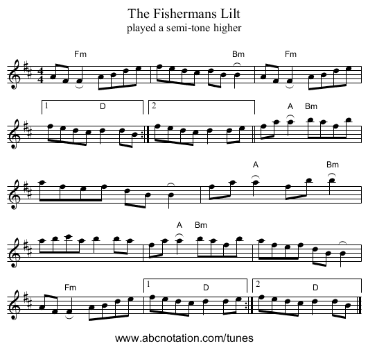 The Fishermans Lilt - staff notation