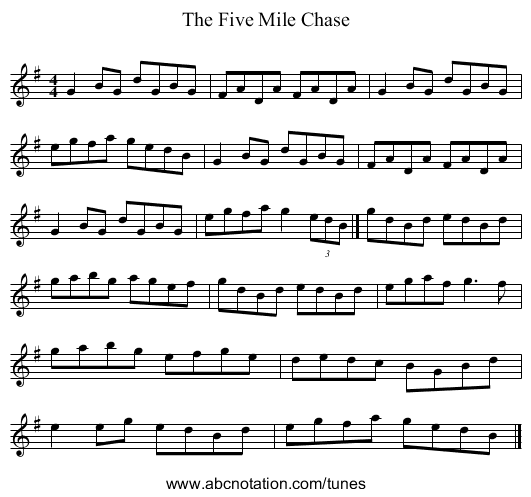 The Five Mile Chase - staff notation
