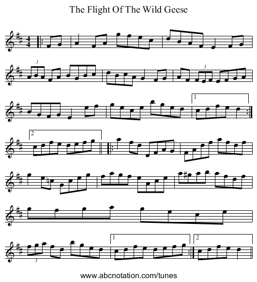 The Flight Of The Wild Geese - staff notation