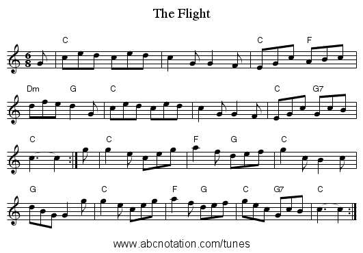 The Flight - staff notation