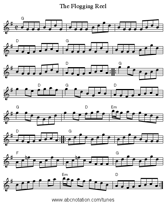 The Flogging Reel - staff notation