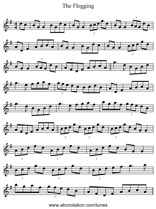 The Flogging - staff notation