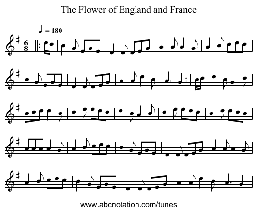 The Flower of England and France - staff notation