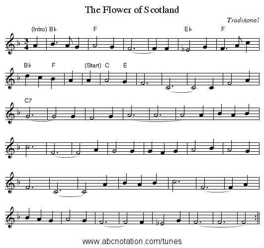 The Flower of Scotland - staff notation