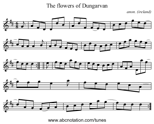 The flowers of Dungarvan - staff notation
