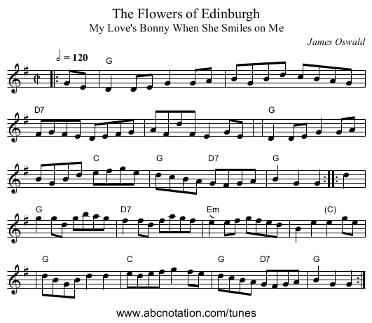 The Flowers of Edinburgh - staff notation