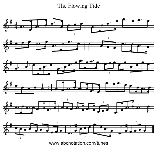 The Flowing Tide - staff notation