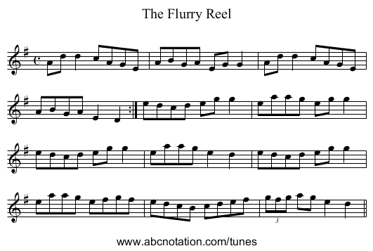 The Flurry Reel - staff notation
