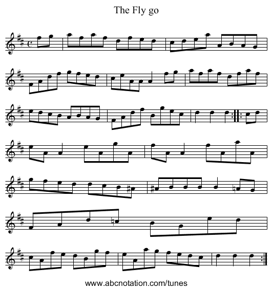The Fly go - staff notation