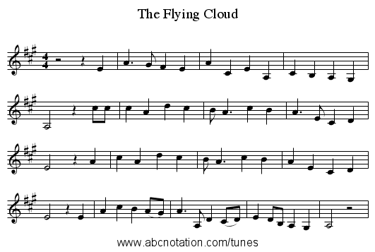 The Flying Cloud - staff notation