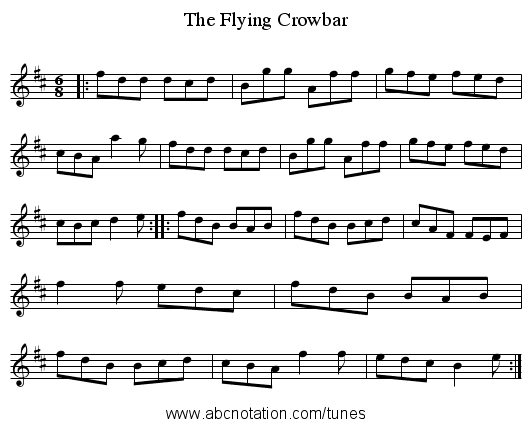 The Flying Crowbar - staff notation