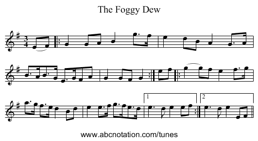The Foggy Dew - staff notation