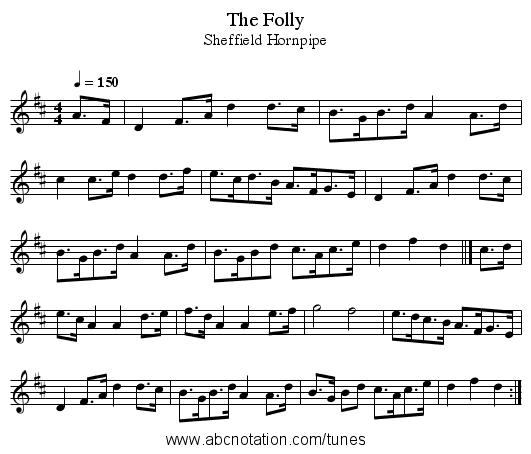 The Folly - staff notation
