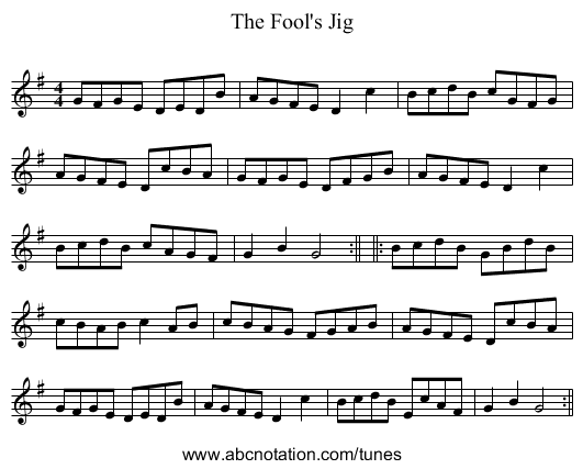 The Fool's Jig - staff notation