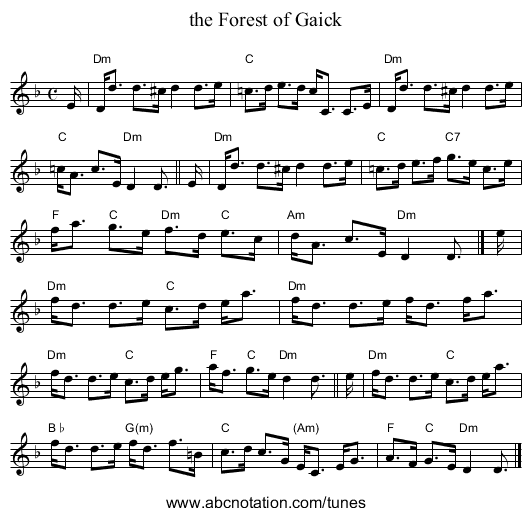 the Forest of Gaick - staff notation
