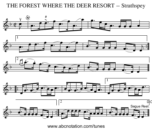 THE FOREST WHERE THE DEER RESORT -- Strathspey - staff notation