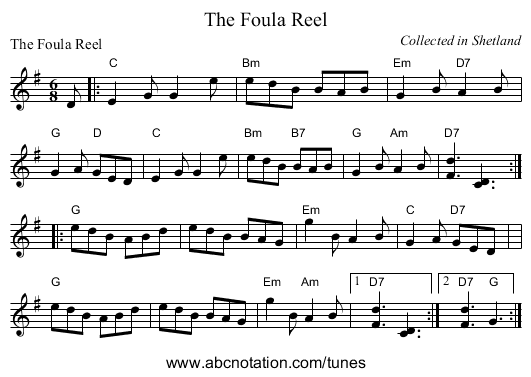The Foula Reel - staff notation