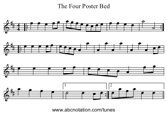 The Four Poster Bed - staff notation