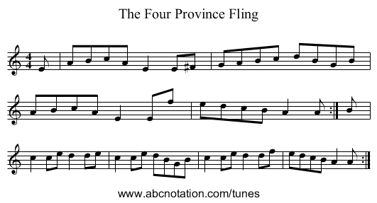 The Four Province Fling - staff notation