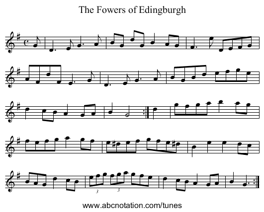 The Fowers of Edingburgh - staff notation