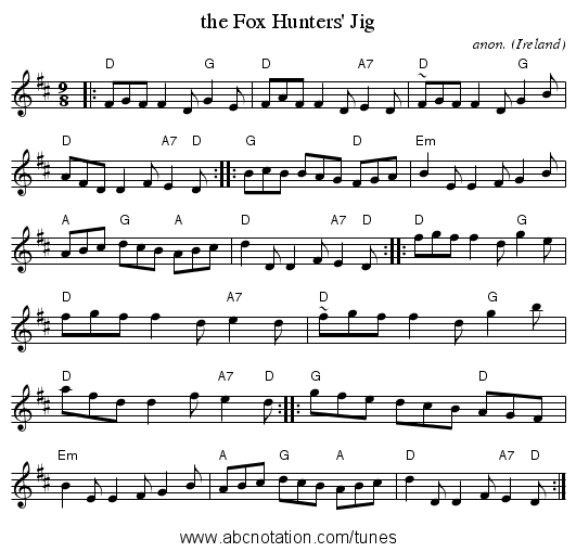 the Fox Hunters' Jig - staff notation