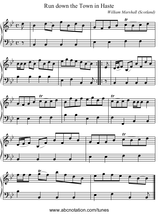 the Fox Hunter's Reel - staff notation