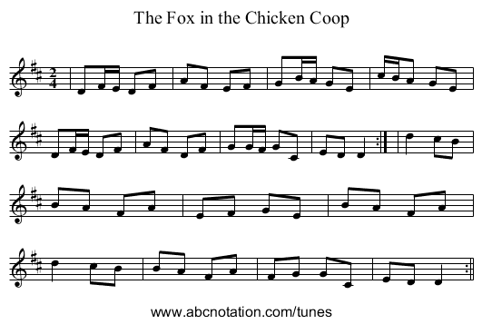 The Fox in the Chicken Coop - staff notation