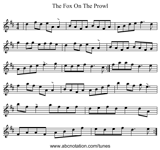 The Fox On The Prowl - staff notation
