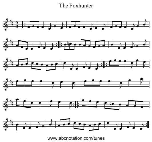 The Foxhunter's - staff notation