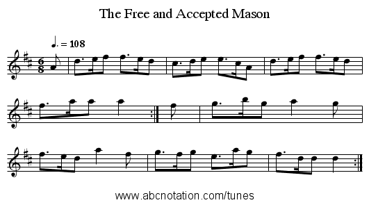 The Free and Accepted Mason - staff notation