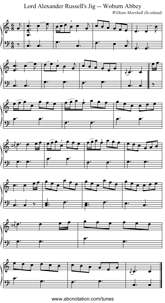 the Free Masson's Anthem - staff notation
